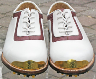 White/Red Gold Toe Golf Shoe