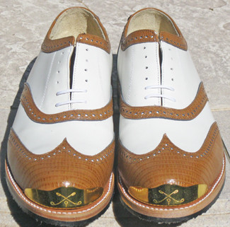 Tan Faux Lizard/White wing tip Gold Toe Golf Shoe